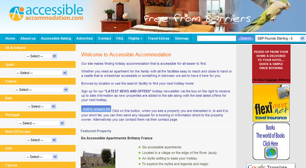 accessible accomodation holiday website
